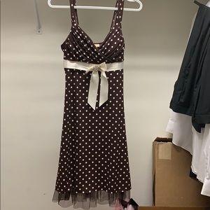 Brown Midi Polk Dot dress